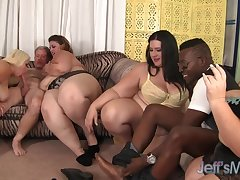 Four cock thirst BBWs licking each other not later than crazy group action