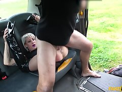 Odd driver pulling down passenger's pantyhose, ass and pussy