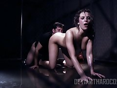 Dark room is filled about boisterous moans as domineer Dahlia Sky rides dick on high top