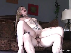 Tattooed goth couple meticulous fucking ends give a blowjob and cum i mouth