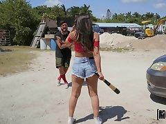 Katana Kombat spreads her limbs for a stout-hearted dick on a catch street