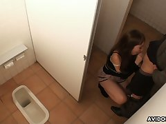 Horny gal goes to a public toilet to drag inflate a stiff bushwa for insistent
