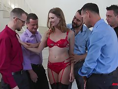 Slender bitch in red underthings Ashley Lane serves a group of horny guys