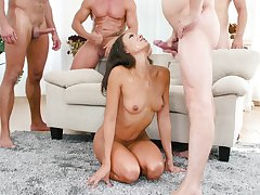 Small tits Cassie Del Isla brutally gangbanged and sprayed with jizz
