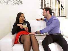 Slutty nextdoor ebony chick Adriana Maya seduces white married challenge