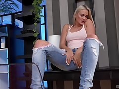 Blonde beauty Katy Sky strips and drills her cunt with a dildo