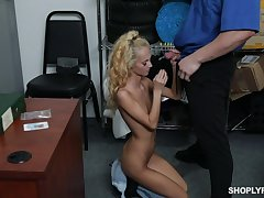 Indifferent teen Sadie Hartz gives a blowjob and gets punished for con job