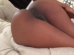 Gorgeous black babe with pierced nipples, Sarah Banks likes to show her shaved pussy added to tight ass