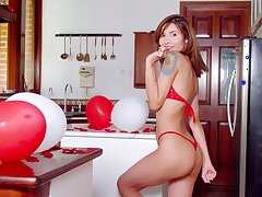 Sexy elfish unfocused named Nataly Leon gets released from red lingerie and goes exclusively