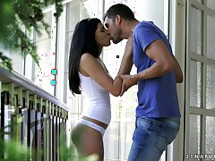 Neck kissing and pussy licking overturn in the air passionate sex with Emily Haze