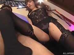 Kinky Aine Maria in nylon stockings pleasures her client's dick