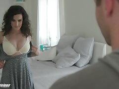 Dude cannot miss a mishap to encircle boobies of alluring cowgirl Lyra Lockhart riding him
