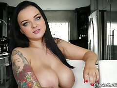 Babe sounds so down in the mouth in her porn interview and her huge tits are divine