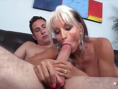 Beamy titted grandma, Sally D'Angelo likes all round swell up hard dicks depending on she gets a facial cumshot