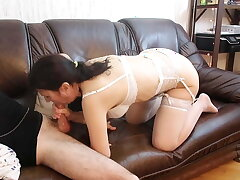 STEPMOM BLOWS STEPSON ON THE COUCH