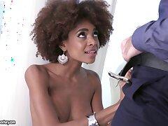 Cute frowning darling Luna Corazon in stockings having interracial sex