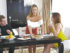 Elegant threesome during a family dinner