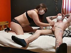 Slut gives Covid-19 Handjob
