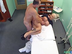 Chesty kirmess prostitute gets some action in the doc's office