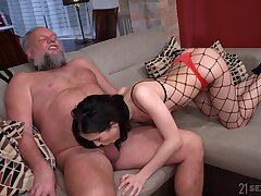 Lanate pervert is happy to lick pussy of gal in fishnet women's knickers Nikki Fox