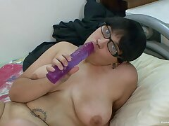 Obese Asian girl in glasses toys on every side say no to big shaved pussy
