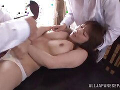 Chubby Japanese ungentlemanly Shiori Kamisaki loves having sexual congress with regard to 2 guys