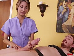 Masseuse Jade Jantzen takes a big dick in her hands and goes to work