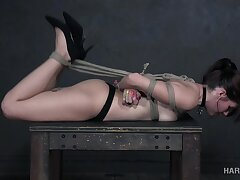 hard tied student Isabel Satellite gets her mouth and pussy punished