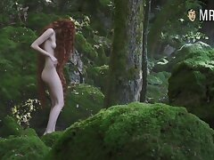 Red haired temptress Stacy Martin standing naked down a forest
