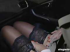 Hot Russian tot Anna Polina shows stockings upskirt to french policeman