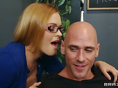 Seductive scrimshaw Krissy Lynn loves having sex on the office table