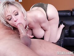 Busty mature soaks younger dick with both her tiny holes
