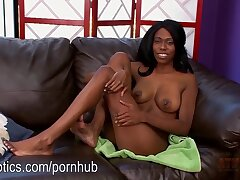 Busty ebony Solo save for pussy