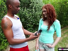 Alice Still wet behind the ears Redhead cutie gets a big load of her birt