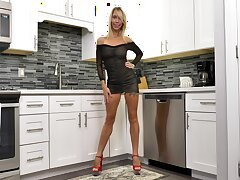 Leggy grown up woman in sexy lingerie Mary Queen Fox is playing with herself