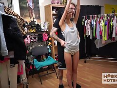 Nice funereal girl Jada Doll is changing her clothes close by front of two kinky dude