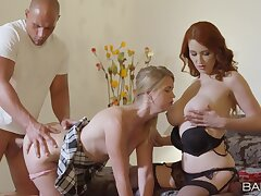 Busty mom and the brush slutty daughter, doolally home trilogy overhead a young dong