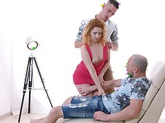 Astounding redhead knows a lot about threesome copulation