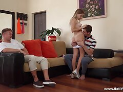 Blonde girl suits her sexual needs in a hot cuckold