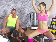 Nice tits cutie Jenifer Jane moans by way of fucking in the gym