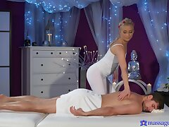 Masseuse craves for the man's huge dong in her tight holes