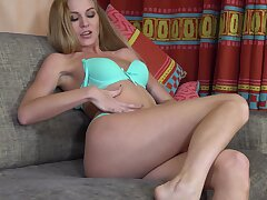 Sexy MILF Tatiana removes her bra and panties to goat her tame