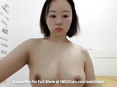 Big Butt Geeky Asian With FF Chest Caught Playing With Pussy on Cam - Solo