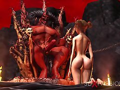 Inferno. Hot sexual intercourse connected with hell. Cacodaemon fucks hard a young off colour slave