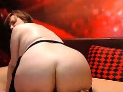 Mature bbw with BIG Pest rides dildo on webcam