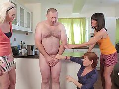 Broad in the beam guy with a small dick gets pleasured by Lexi Lou and friends