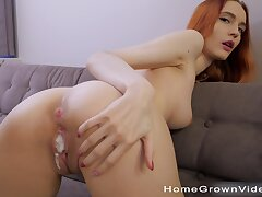 Fit redhead room-mate loves teasing coupled with having quickie sex