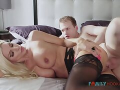 Sizzling blnde COUGAR is crippling softcore, dark-hued stocking while having fuck-a-thon with her spouse's mate