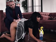 Sexy maid is given some deception and that chick knows how to fuck