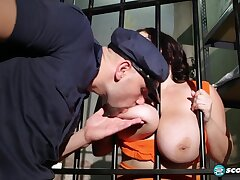 Brunette BBW Trinity Michaels gets cum on tits in jail - Big ass & monster tits